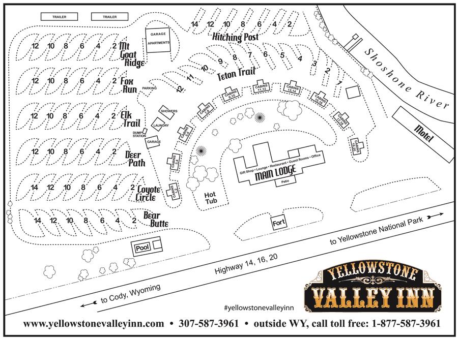 Yellowstone Valley Inn RV Sites Map